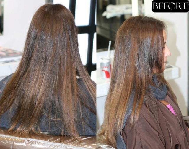 dark brunette highlights before and after