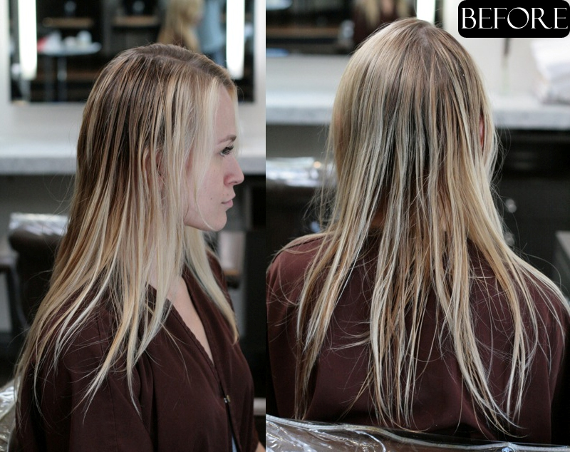 Blonde Hair Extensions Before and After