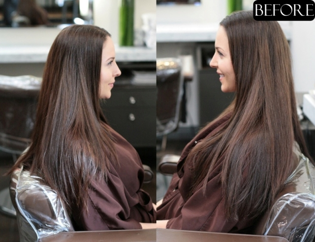 brunette highlights before and after