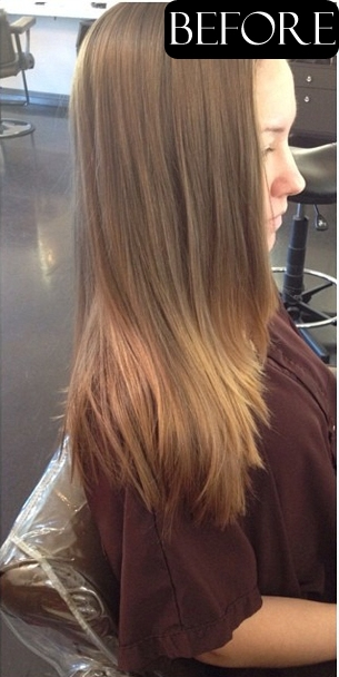 dark blonde highlights before and after