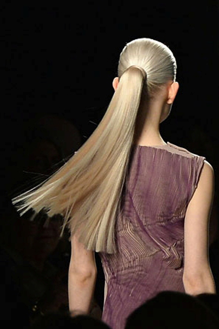 straight ponytail -  bottega veneta fall 2014 rtw