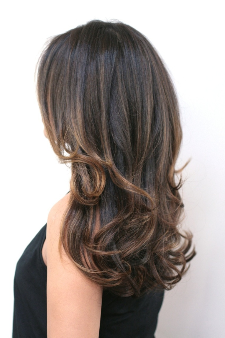 Before And After Dark Chocolate Brunette With Highlights