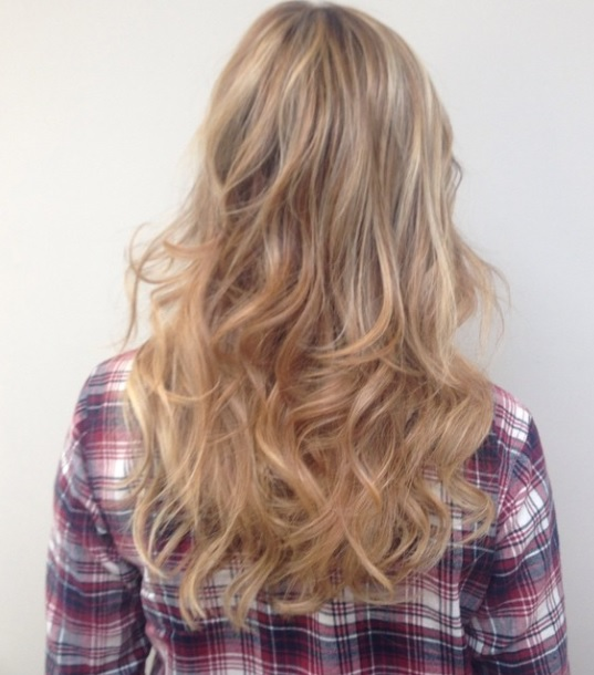 blonde highlights and natural extensions