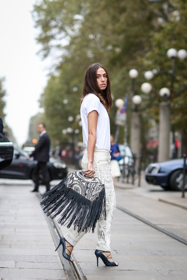 fringed handbag - street style