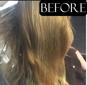 brassy hair color before and after