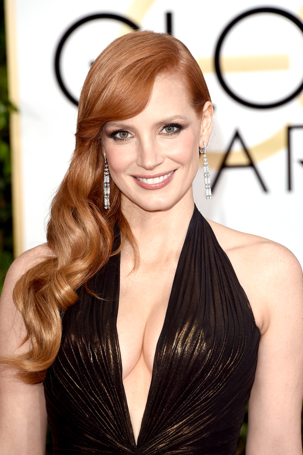 jessica chastain hair 2015 golden globes
