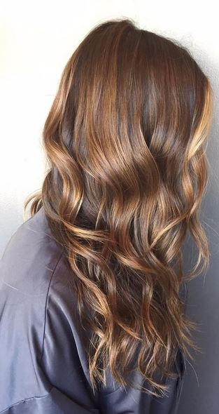 brunette highlights via balayage technique