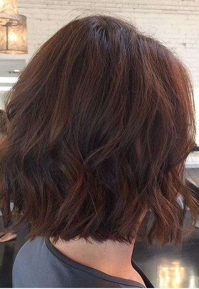 chestnut brunette color and short length cut