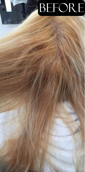 blonde hair color correction before and after
