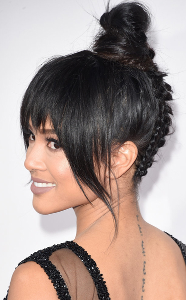 braided hairstyle idea with topknot