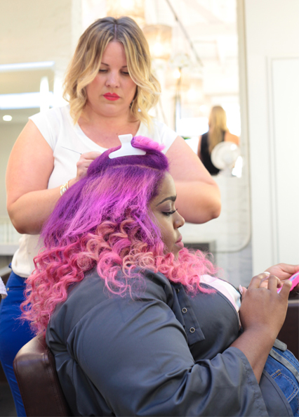 pink and purple ombre hair color makeover