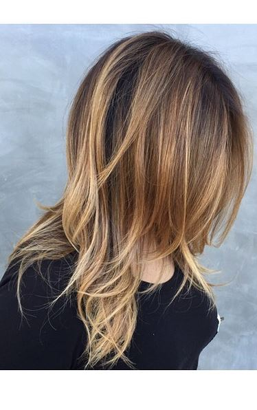 sort of ombre brunette and bronde highlights