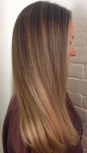 blended brunette and bronde highlights
