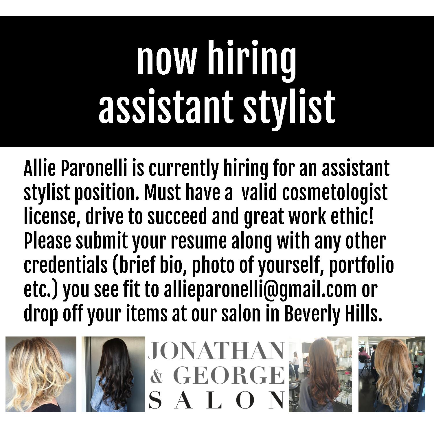 Now Hiring: Assistant Stylist – JONATHAN & GEORGE