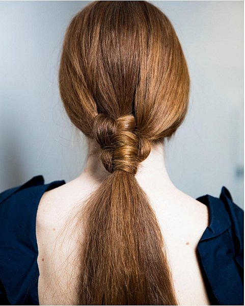 low ponytail with a knot - Leanne-Marshall-Fall-2016