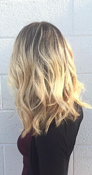 dimensional rooty blonde highlights