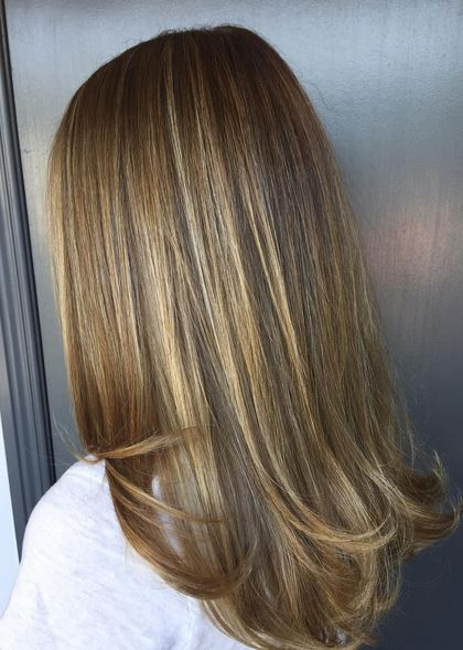 superfine and subtle blonde highlights on brunette hair