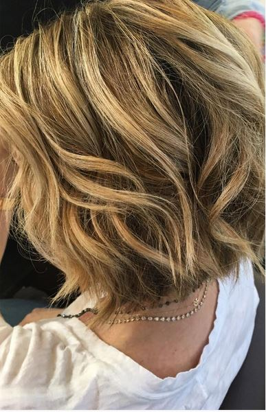 blonde balayage highlights on short hair