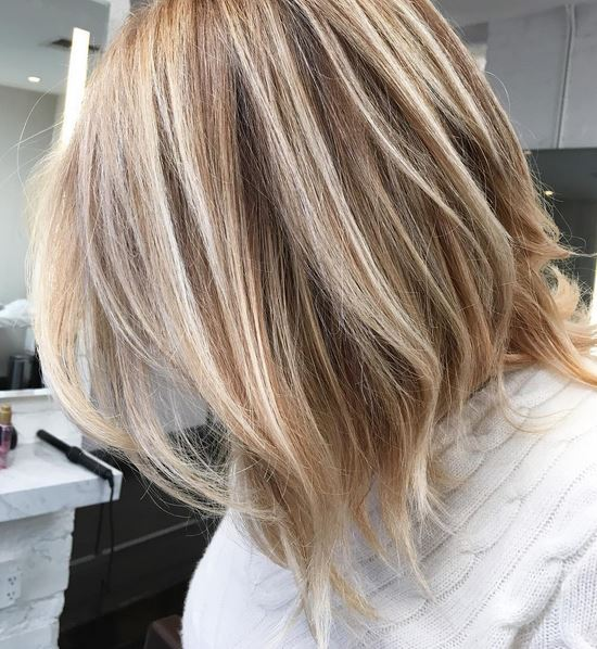 blonde highlights with honey hues