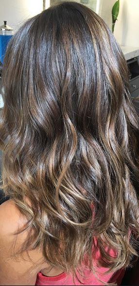 shiny brunette highlights